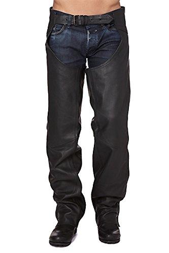 Zerimar KENROD Chaps Leder für Motorrad Zajón Hosen Abdeckungen in weich Leder Farbe Schwarz Größe XL