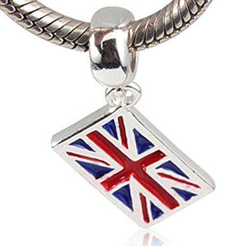 UK Flagge Charm 925Sterling Silber symol von England Rubin, Country Charm für Pandora Charme Armband GB