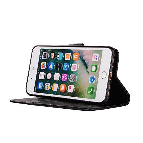 Custodia iPhone 7 Plus, ISAKEN Custodia iPhone 7 Plus, iPhone 7 Plus Flip Cover con Strap, Elegante 2 in 1 Custodia in Sintetica Ecopelle Sbalzato PU Pelle Protettiva Portafoglio Case Cover per Apple Uccelli: nero
