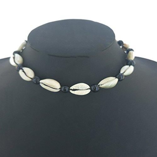 Naturale della collana girocollo vintage velluto corda perline naturale semplice shell choker boho nero