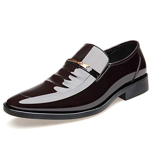 FNKDOR Schuhe Herren Geschäft Spitz Lackleder Lederschuhe Klassisch Slip-on Berufsschuhe Freizeit Kleid Schuhe Braun 40 EU - Dockers Klassische Slips