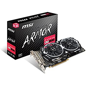 MSI Radeon RX 580 ARMOR 4G OC - Tarjeta gráfica (refrigeración ARMOR 2X, 4 GB memoria GDDR5)