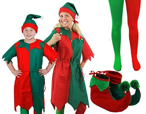 ILOVEFANCYDRESS ELF Weihnachten KOSTÜM FÜR Kinder GRÜN ROT LANGES Kleid + Hut MIT BOMMEL + Strumpfhose + ELFENSCHUHE FRECHE ELFE Santa's KLEINE Helfer Elfen (X-GROẞ - 13-14 Jahre) (Kinder Santa's Helfer Kostüm)