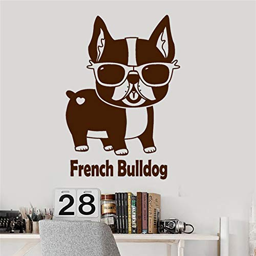 AIPIOR Vinyl Wall Decal Französisch Bulldog Pet Shop Sonnenbrillen lustige Tier Aufkleber Leben Wall Decals Wandaufkleber 58x40cm
