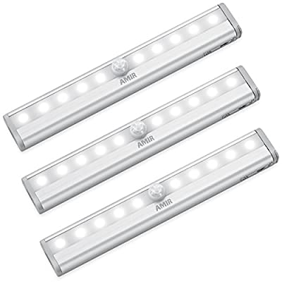 AMIR Motion Sensor Light Bar, (10 LED, 3 Pack) Sensor Wardrobe Light, Portable Wireless Battery Operated LED Closet Night Light with Stick-On Magnetic Strip, Auto On/Off Stick-On Anywhere For Wall Closet Cabinet, Stairs, Drawer, Wardrobe, Pure White produ