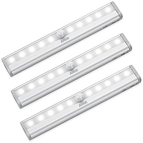 AMIR LED Schrankbeleuchtung, Nachtlicht mit Bewegungsmelder, 10 LED Batteriebetrieben Kabinett Nachtlicht, Auto On/Off Schrankbeleuchtung Bewegungsmelder für Schlafzimmer, Küche, Gang, Schubfach, usw.