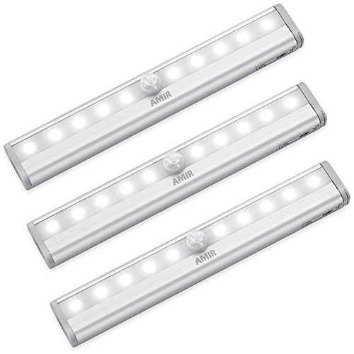 AMIR Motion Sensor Light Bar, (10 LED, 3 Pack) Sensor Wardrobe Light, Portable Wireless Battery Operated LED Closet Night Light with Stick-On Magnetic Strip, Auto On/Off Stick-On Anywhere For Wall Closet Cabinet, Stairs, Drawer, Wardrobe, Pure White