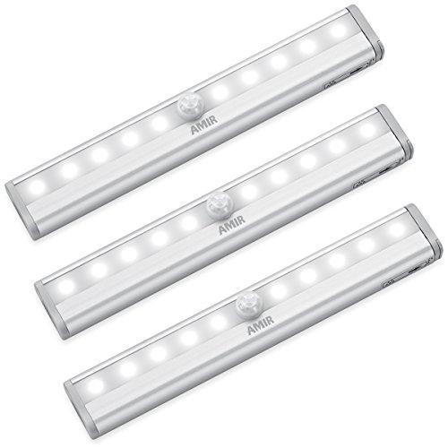 AMIR LED Schrankbeleuchtung, Nachtlicht mit Bewegungsmelder, 10 LED Batteriebetrieben Kabinett Nachtlicht, Auto On/Off PIR Motion Sensing Licht für Schlafzimmer, Küche, Gang, Schubfach, usw.