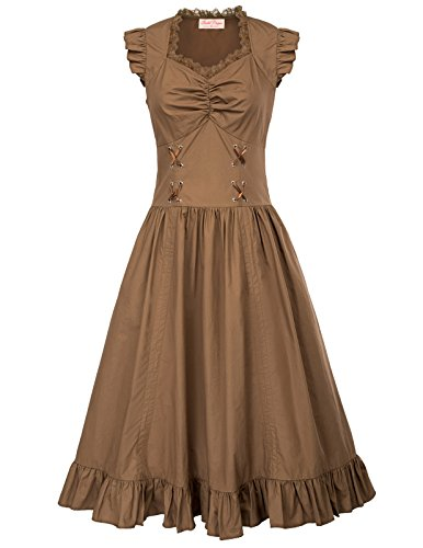 Belle Poque Dress Kurzarm Knielang Cocktailkleider Partykleid Victorian Kleid