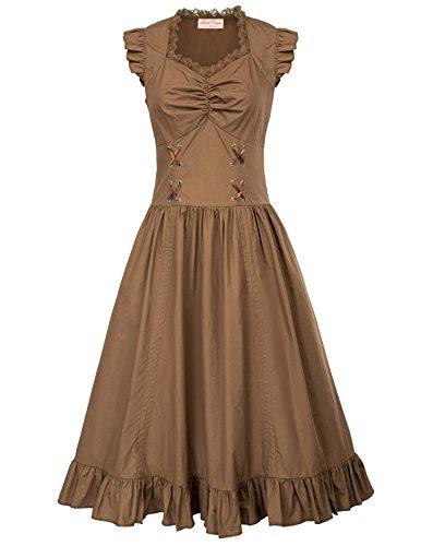Belle Poque Victorian Gothic Renaissance Maxikleid Empire Kleid Stretch Tailliert Kleid (Empire Kostüm)