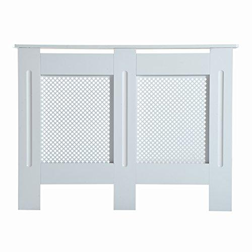Homcom copritermosifone in legno copertura moderna 111.5 × 82 × 19cm verniciato bianco