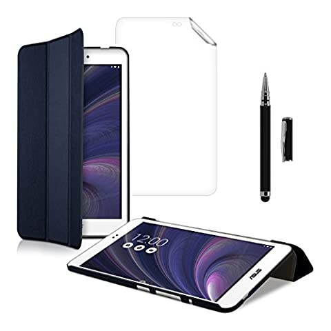 3in1 Set: kwmobile Hülle für Asus MeMo Pad 8 ME581 C/CL - Smart Cover Case Tablet Schutzhülle Kunstleder - Ultra Slim Tabletcase Dunkelblau + Folie, kristallklar + Stylus, Schwarz