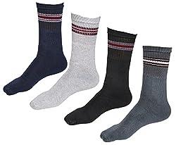 Indiweaves Mens Cotton Socks (Pack of 4 Socks)-Grey/White/Black/Grey