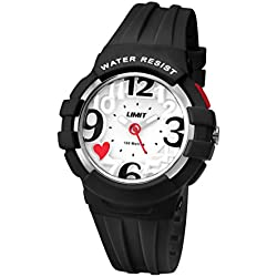 Limit Active Girl's Quartz Watch with White Dial Analogue Display and Black Plastic Strap 5577.24