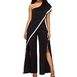 OverDose Soldes Combinaison Femme Asymétrique Chic pour Soirée Été, Sexy Mode Pantalons Large Clubbing Jumpsuit