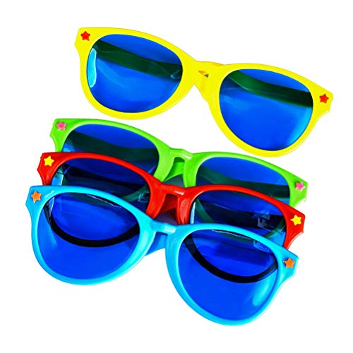heliltd 4 Stück Bunte Riesige Eyeswear Sonnenbrillen, Kunststoff Party Gläser für Beach Party Kostüm Party Supplies