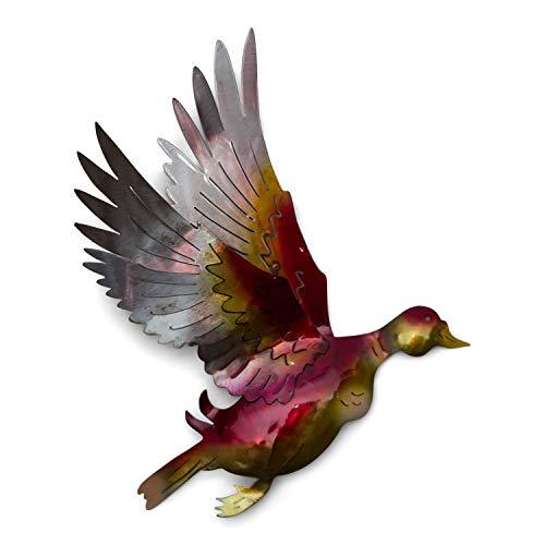 Tumia LAC Wanddekoration Flying Ente, recyceltes Metall, 28 cm, handgefertigt Ente Metall