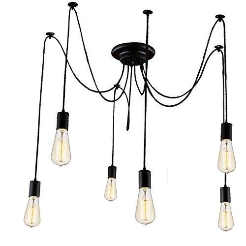 Asvert Pendelleuchte Vintage Multi Cord Edison Birne Loft Schwarz Scheune Hängelampe Beleuchtung, Schwarz (ohne Leuchtmittel) (6 Köpfe) -