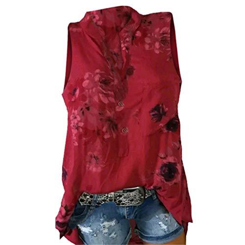 CUTUDE Damen T Shirt, Kurzarm Sommer Frauen Plus Size Loose Print V-Ausschnitt Ärmellos Bluse Pullover Tops Shirt (Rot, X-Large)