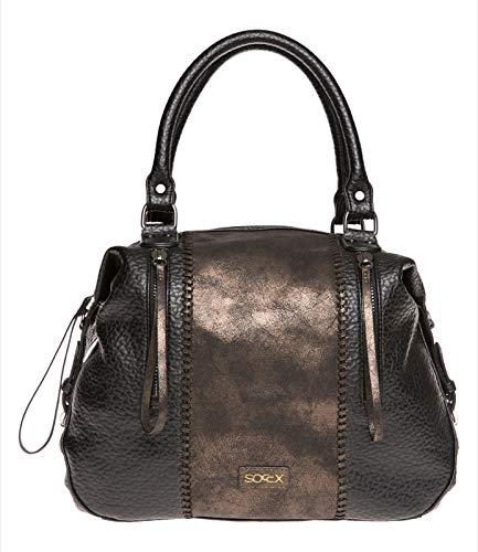 SOCCX Damen Bowling Bag aus Lederimitat mit Metallic-Details