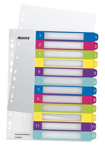 Leitz 12440000 WOW Zahlen Plastikregister (Polypropylen, 1-12, A4, 12 Blatt) farbig