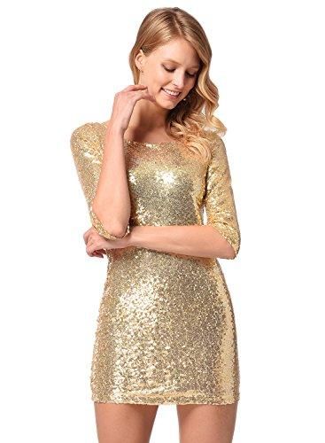 Frauen halbe Hülse Pailletten-Kleid tief V zurück Clubwear Abendkleid Gold S