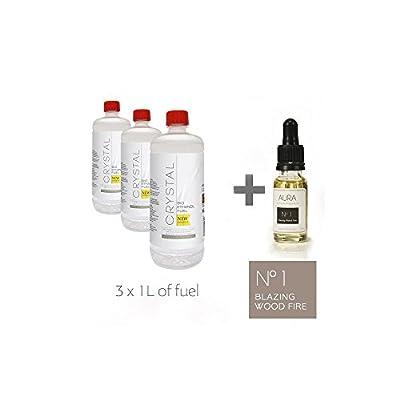 Bio Fires Crystal Bio Ethanol Fuel - 3 X 1L + Aura Oil No 1