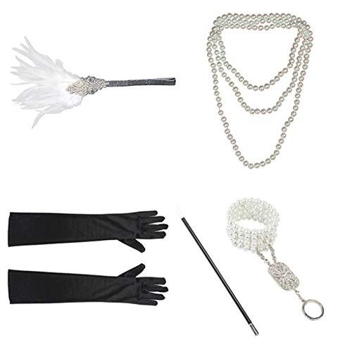 ren Set,Haar Zubehör Styling Set,Hair Styling Accessories Kit Set,Zubehör-Set Stirnband Handschuhe Zigarettenspitze Halskette Armbänder ()