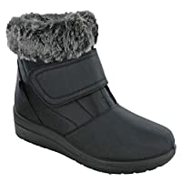 Cushion Walk Velcro Boots Thermo-Tex Winter Warm Lined Fur Ankle Shoes