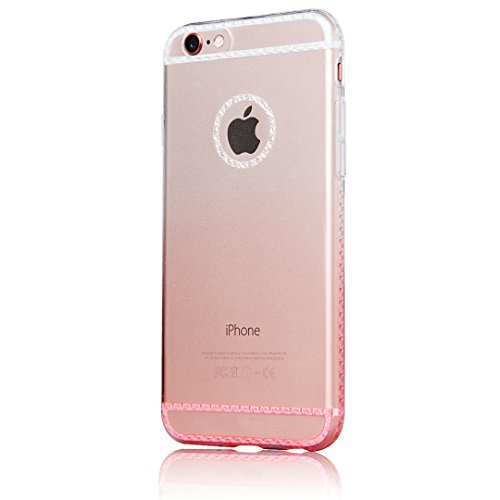 iPhone 6 6S Case - Sunnycase® Ultra Fin TPU Coque Etui Transparent Gel Silicone Doux Soft Back Cover Protection Arrière Cassette Replacement Telephone Portable Accessories Bumper Anti-Choc pour Apple  Bling-rose