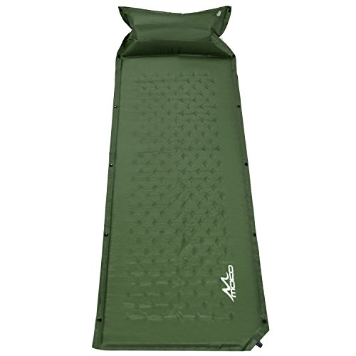MoKo Waterproof Self-Inflating Sleeping Pad, Lightweight Comfort Splicing Dampproof Air Sleeping Pad Camping Mat with Inflatable Pillow for Outdoor Camping, Hiking, Backpacking, Trekking - Army Green