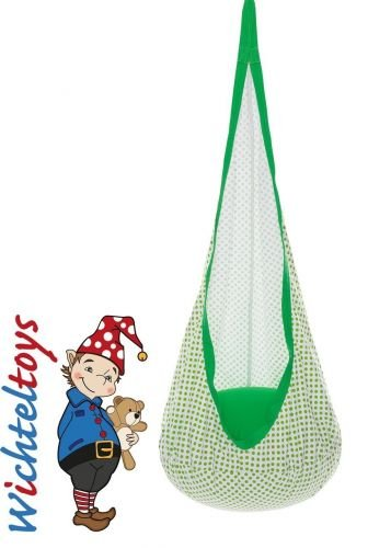 Kinder Hängehöhle SNUGLY Punkte weiß-grün, mit Sitzkissen