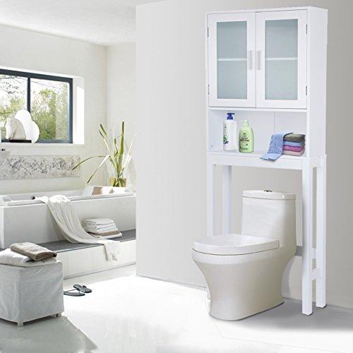 COSTWAY WC Toilette Überbauschrank Badezimmerregal Badschrank Hochschrank Badregal Badmöbel weiß