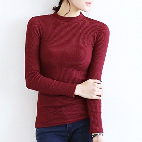 wangjialin-L'autunno e inverno, formando la ragazza olandese-semi-alto colletto stretto a maniche lunghe di colore solido filo di spessore in maglia di cotone T-shirt in inverno ,2XL, vino rosso