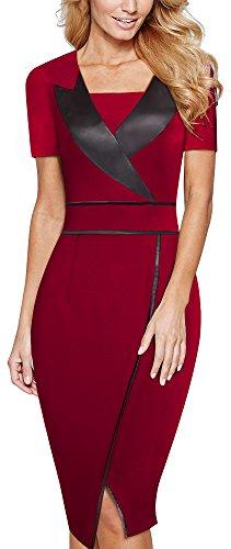 HOMEYEE Elegante manica corta Slim Kneelength formale Abito da sera delle donne al lavoro del vestito B366 Rosso