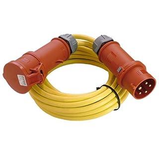 as - Schwabe 60706 CEE-Verlängerung 400V / 32A, 25 Meter K35 AT-N07V3V3-F 5G4 mit Phasenwendestecker, gelb, IP44 Aussenbereich, gelb