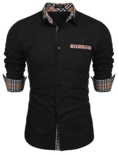 Coofandy Herren Hemd Langarm Regular Fit Einfarbig Freizeithemden Kragen Plaid spleißen Hemden -