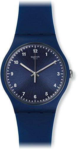 Swatch SUON116 Montre quartz analogique unisexe 43 mm bracelet silicone bleu