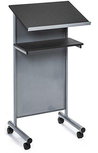 Rädern Rednerpult mit Ablage–silber/schwarz–Compact stehend Schreibtisch für...
