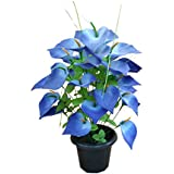 Advancedestore Artificial Blossom Purple Flower With Green Leafs With Plastic Vase(60 X 28 Cm) For Indoor And Outdoor Decoration Of Your Office And Home