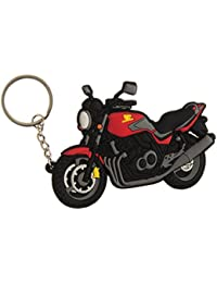Techpro Rubber Keychain With Double Sided Red Honda Bike Design