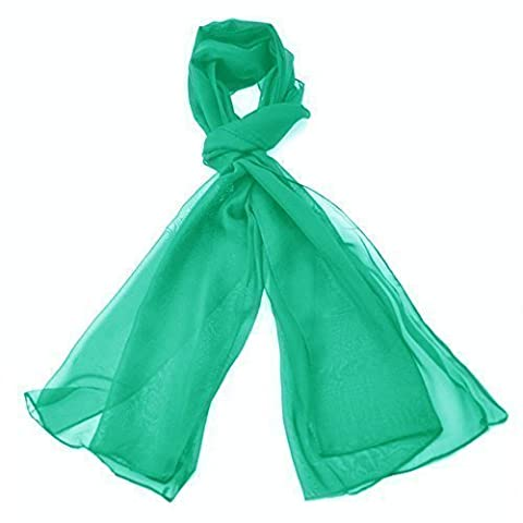 Classic Plain Chiffon Scarf Light Weight & SOFT See-Through Semi Opaque Fabric 47 x 160cm (18.5 x 62 inch)- Luxurious Finishing Touch To Any Outfit Perfect Daily Neck Wrap Scarves For Men & Women (Green)