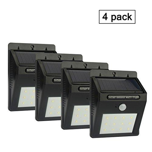 ALED LIGHT 12 LED Kabellose Außenwandleuchte Solarleuchte Garten Lampe mit Bewegungsmelder und Dämmerungsschalter, Ideal für Innenhöfe, Balkons, Terassen, Garten, Einfahrt, Treppen, Außenwand usw. (4 x Schwarz)