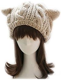 TinkSky Oreilles de chat mignon automne hiver en forme filles de femmes Crochet tressé Ski tricot laine chapeau chaud Beanie Bonnet (Beige)