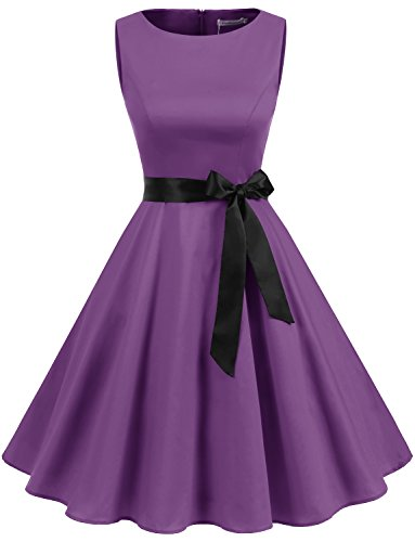 Gardenwed Damen Vintage 1950er Partykleid Rockabilly Ärmellos Retro Cocktailkleid Purple XL