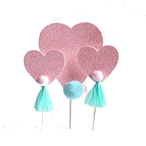 koration, Flamingo-Herz, Quaste, Pompon, für Dessert, Cupcakes, Geburtstag, Einhorn, Party, Hochzeit, Dekoration rose ()