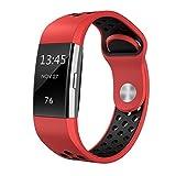 Wokee Neue Mode Sport Silikon Armband Armband für Fitbit Charge 2 (Rot)