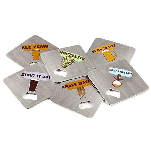 FuhlSpeed acbc-006Untersetzer Craft Edelstahl Getränke Untersetzer mit integriertem Flaschenöffner (6Pack)