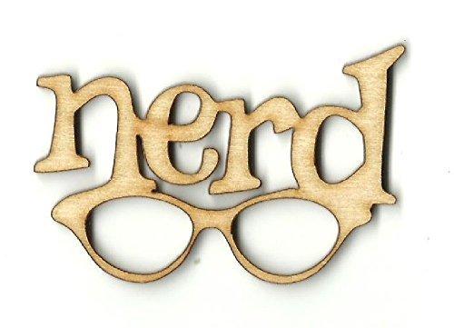 Cut Wood Sign Nerd Brillen, Nerd unlackiert Laser Schnitt Holz Form, Nerd Brillen Holz Decor, Nerd...