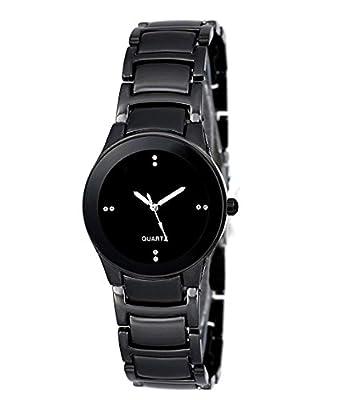 DAIZEL Round Dial Premium Quality Series Analogue Black Dial Black Stainless Steel Strape Fashion Wrist Watch for Women & Girls | DV-IIK-Small-BK